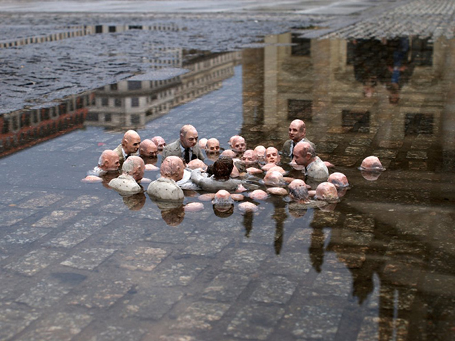 'Politicians discussing global warming' door Isaac Cordall: