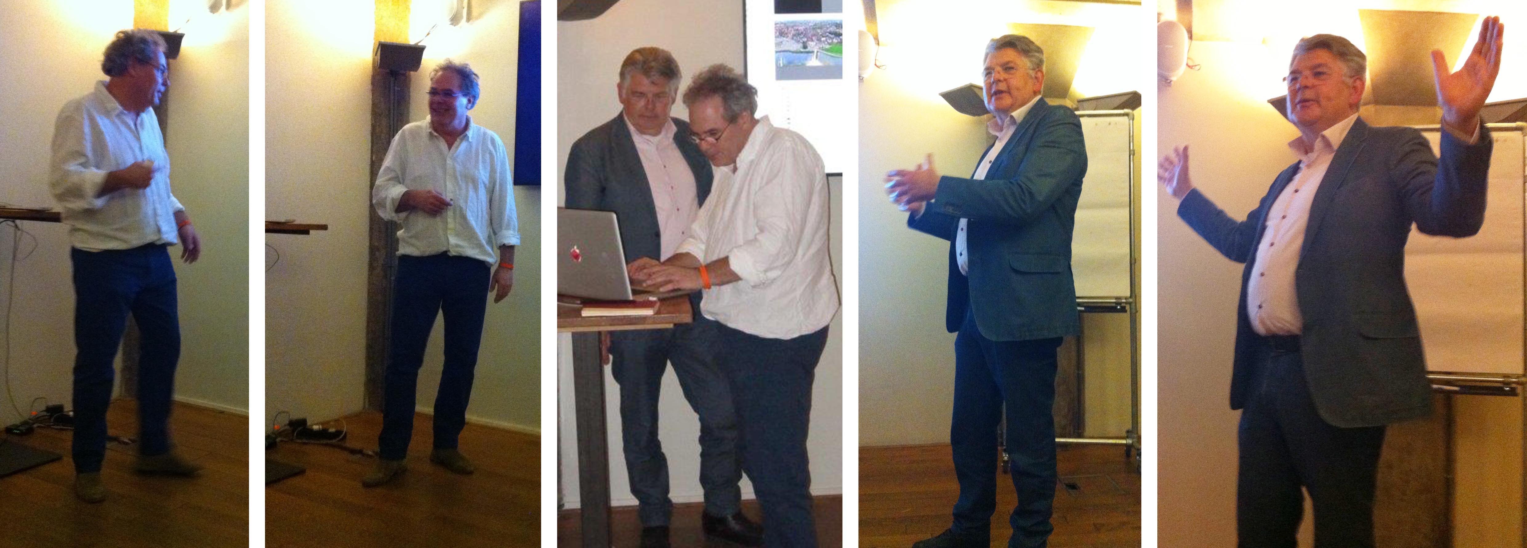 vlnr. Hilbert Kamphuisen en Jan Simons tijdens de Taal Voorbij #29 in Pakhuis de Zwijger